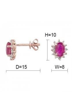 Серьги из красного золота с бриллиантами и рубинами (046632)