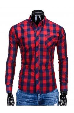 Рубашка мужская R282 - красный/Синий