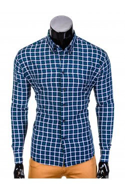 Men's check shirt with long sleeves K387 - navy/green