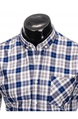 Men's check shirt with long sleeves K393 - blue/grey