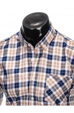 Men's check shirt with long sleeves K393 - blue/brown