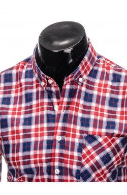 Men's check shirt with long sleeves K393 - red