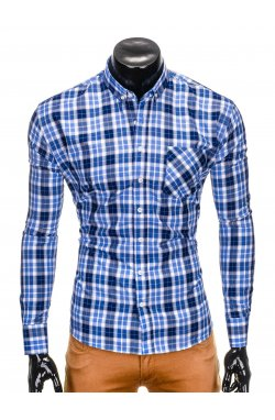 Men's check shirt with long sleeves K393 - light blue