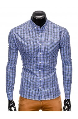Men's check shirt with long sleeves K394 - light blue