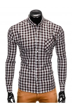 Men's check shirt with long sleeves K394 - black