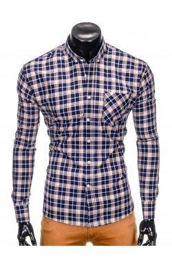 Men's check shirt with long sleeves K396 - navy/brown