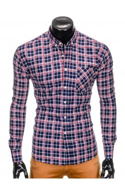 Men's check shirt with long sleeves K396 - navy/red