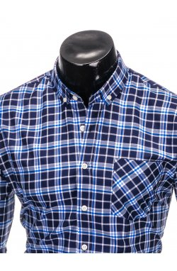 Men's check shirt with long sleeves K396 - navy/blue
