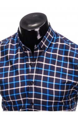 Men's check shirt with long sleeves K399 - navy/blue