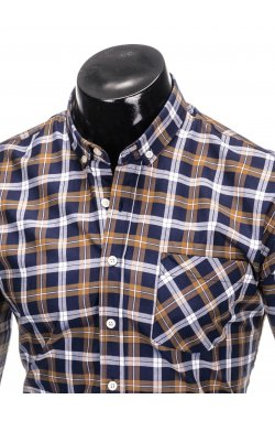 Men's check shirt with long sleeves K397 - navy/brown