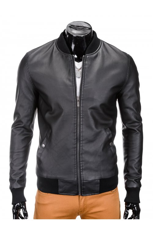 Men's mid-season leather bomber jacket C333 - черный
