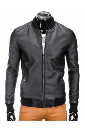 Men's mid-season leather bomber jacket C333 - черный