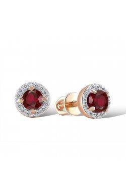 Серьги из золота с бриллиантами и рубинами (562051)