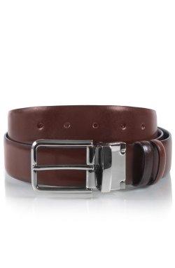 Ремень двусторонний мужской кожаный коричневый и рыжий Glasman 7341