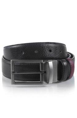 Ремень двусторонний мужской кожаный бордо и черный Glasman 17190