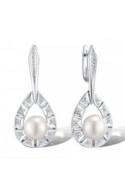 Серьги из белого золота с бриллиантами и жемчугами (пресноводными) (1644879)