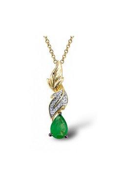 Кулон из желтого золота с бриллиантами и изумрудом (1550766)