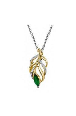 Кулон из золота с бриллиантами и изумрудом (1550923)