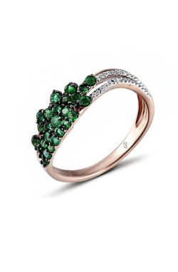 Кольцо из красного золота с бриллиантами и изумрудами