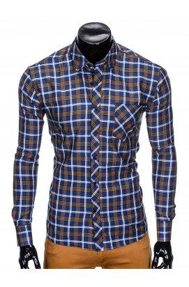 Рубашка мужская R416 - Синий/коричневый