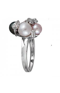 Кольцо из белого золота с бриллиантами и жемчугами