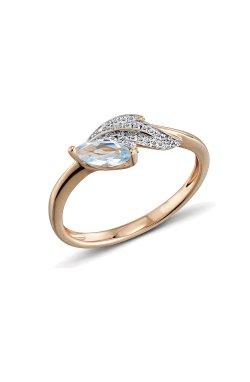 Кольцо из красного золота с бриллиантами и топазом