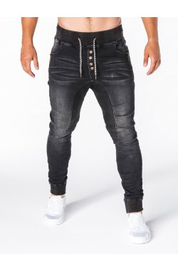 Штани чоловічі джинсові джоггери P198 - чорні
