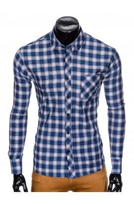 Рубашка мужская R415 - Синий/бежевый