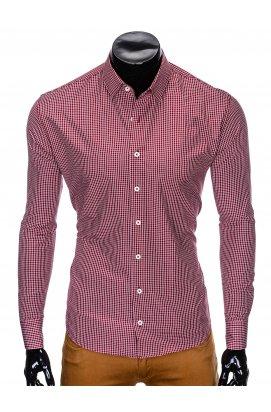 Рубашка мужская R426 - Темно- красный/Белый