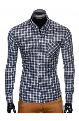 Рубашка мужская R429 - Темно- Серый/Синий
