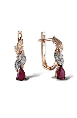 Серьги из красного золота с бриллиантами и рубинами (1552213)