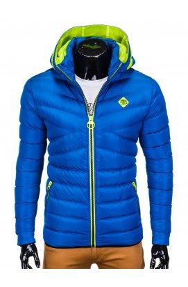 Men's winter quilted jacket C363 - blue