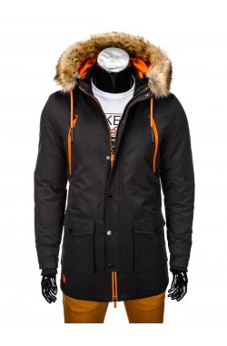 Куртка чоловіча зимова парка C358 - чорна