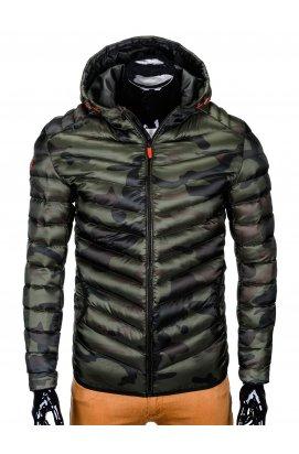 Куртка мужская стеганая K368 - зеленый/камуфляжный