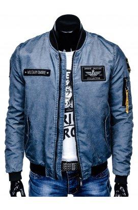Куртка бомбер мужская демисезонная K370 - светло - голубой