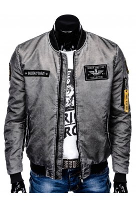 Куртка бомбер мужская демисезонная K370 - Серый