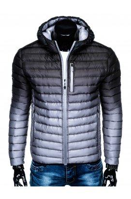 Куртка мужская стеганая K319 - черный/Серый