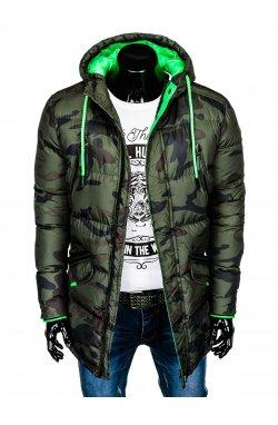 Куртка чоловіча зимова стьобана C383 - зелена/моро