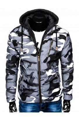 Куртка мужская стеганая K384 - Серый/камуфляжный