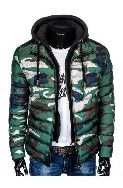 Куртка мужская стеганая K384 - зеленый/камуфляжный