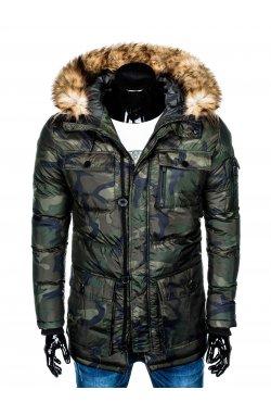 Куртка чоловіча зимова парка C355 - зелена/моро