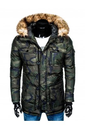 Куртка парка мужская зимняя K355 - зеленый/камуфляжный