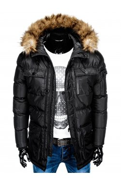 Куртка чоловіча зимова парка C355 - чорна