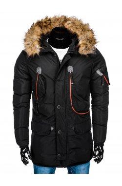 Куртка чоловіча зимова парка C369 - чорна