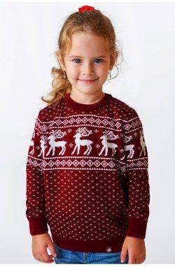 Свитер Рождественский с оленями детский