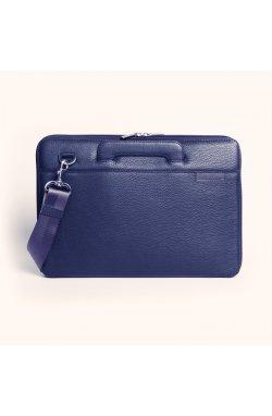 """Кожаная сумка для ноутбука синяя MacBook 13"""""""
