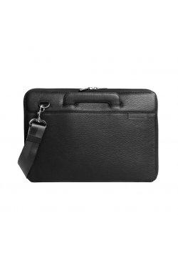 """Кожаная сумка для ноутбука черная MacBook 13"""""""