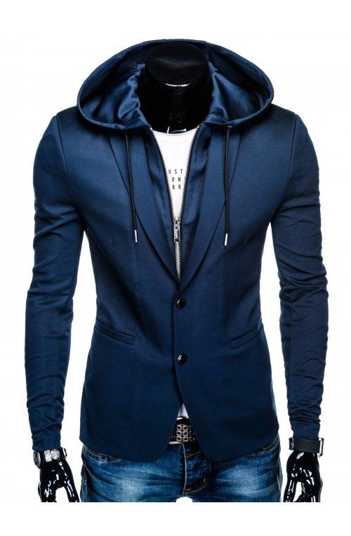 Пиджак мужской кэжуал с капюшоном P99 - Синий