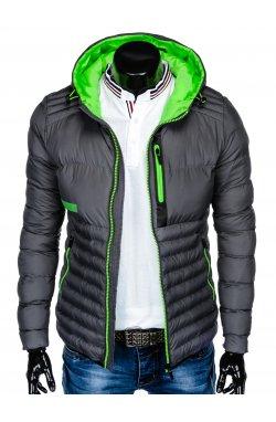 Men's autumn quilted jacket C372 - Серый