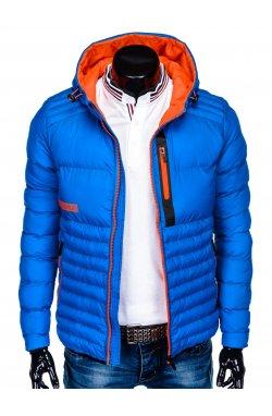 Men's autumn quilted jacket C372 - голубой